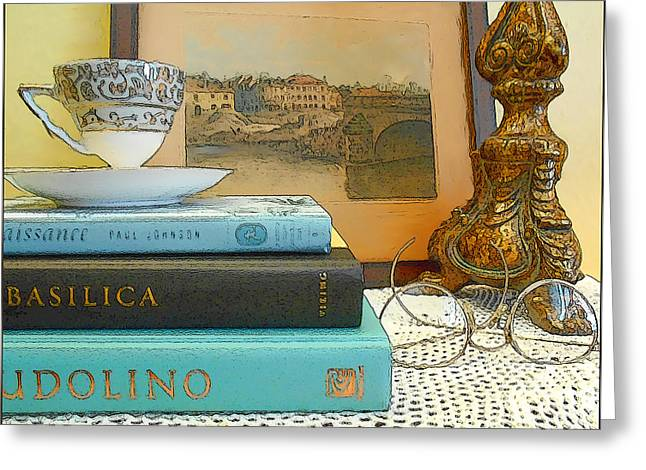 Valery Greeting Cards - Tea and Books Greeting Card by Kathy Franklin