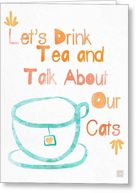 Teacup Greeting Cards - Tea and Cats Greeting Card by Linda Woods