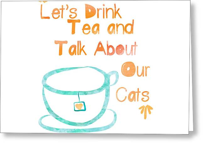 Teacup Greeting Cards - Tea and Cats Square Greeting Card by Linda Woods