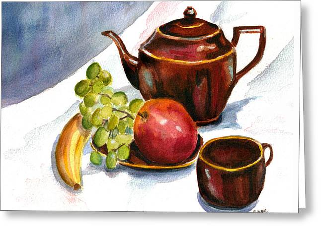 Stoneware Paintings Greeting Cards - Tea and Fruit Greeting Card by Clara Sue Beym