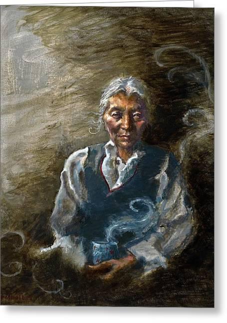 Tibetan Portrait Greeting Cards - Tea and Memories Greeting Card by Ellen Dreibelbis