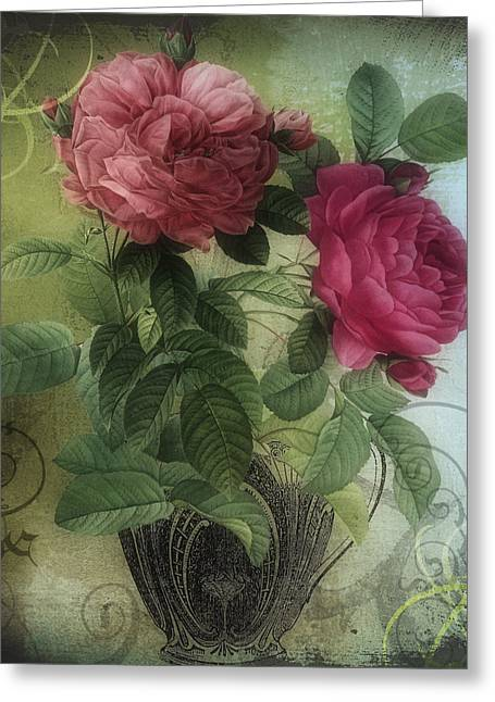 Vintage Rose Greeting Cards - Tea and Roses I Greeting Card by Mindy Sommers