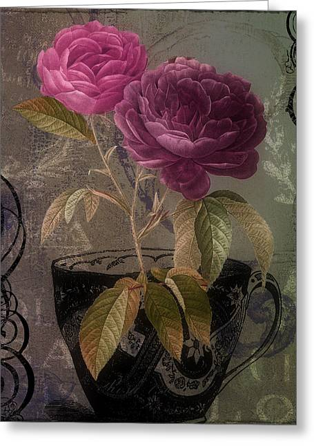 Vintage Rose Greeting Cards - Tea and Roses II Greeting Card by Mindy Sommers