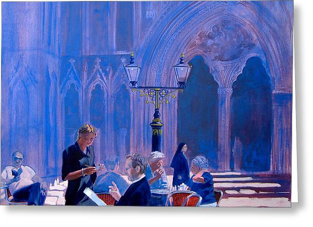 Coffee Drinking Paintings Greeting Cards - Tea at York Minster Greeting Card by Neil McBride