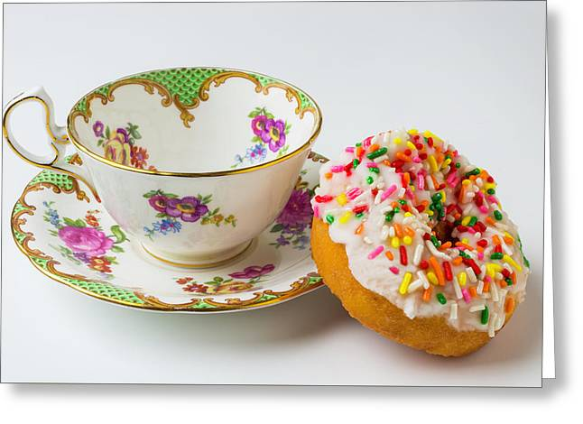 Tea Cup And Donut Greeting Card by Garry Gay