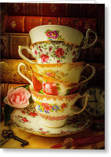 Tea Cups And Antique Books Greeting Card by Garry Gay