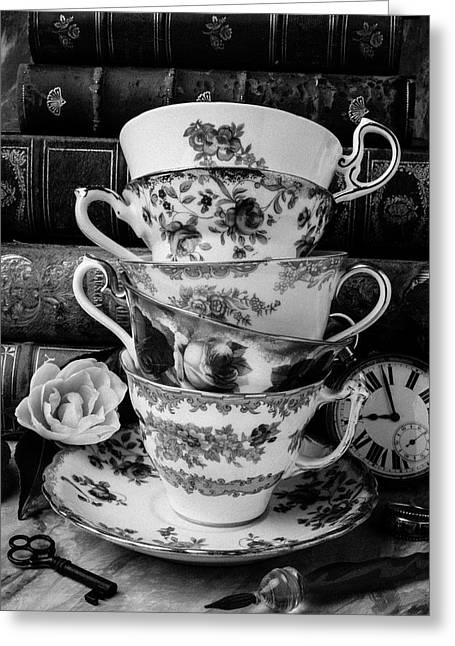 Tea Cups In Black And White Greeting Card by Garry Gay