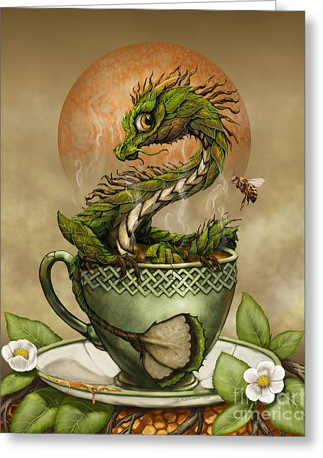 Green Fantasy Greeting Cards - Tea Dragon Greeting Card by Stanley Morrison