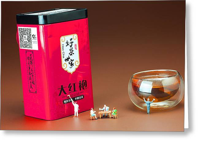 Healthy Greeting Cards - Tea drinking in a family little people big world Greeting Card by Paul Ge