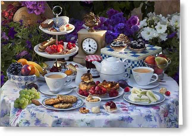 Sandwich Cookie Greeting Cards - Tea for Two Greeting Card by © Simon Kayne