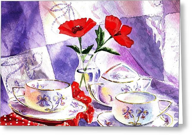 Tea For Two Vintage Style Greeting Card by Irina Sztukowski
