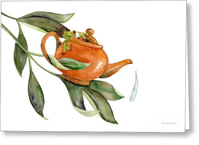 Frogs Greeting Cards - Tea Frog Greeting Card by Amy Kirkpatrick