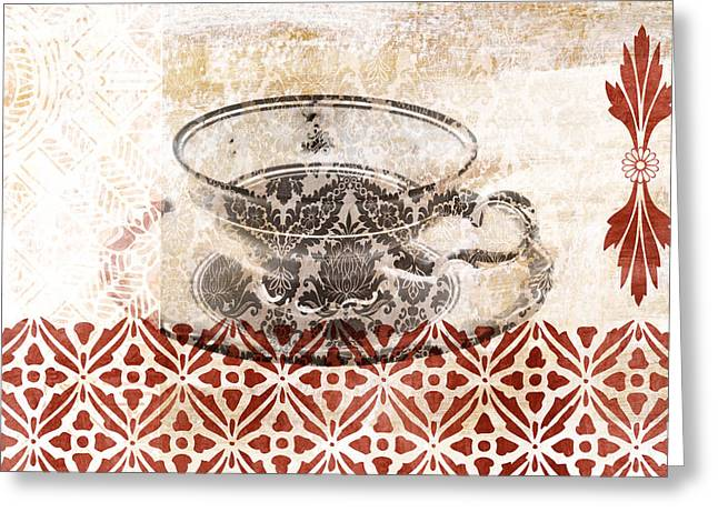 Flourished Greeting Cards - Tea House Greeting Card by Frank Tschakert
