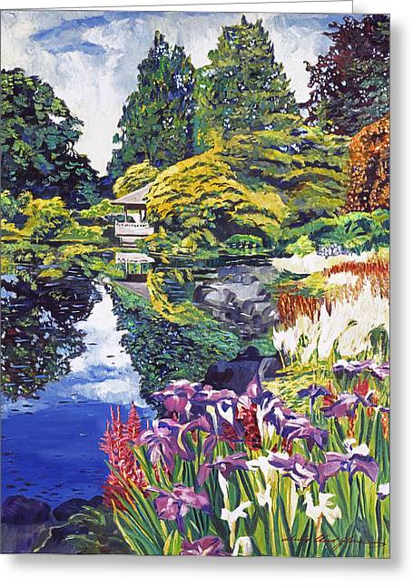 Tea Tree Flower Greeting Cards - Tea House Lake Greeting Card by David Lloyd Glover