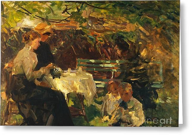 Tea In The Garden, Greeting Card by Walter Frederick Osborne