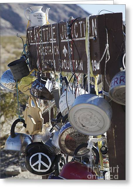 Teakettles Greeting Cards - Tea Kettles on Signpost at Teakettle Junction Greeting Card by Gordon Wood