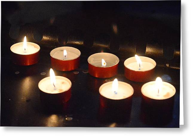 Candle Lit Greeting Cards - Tea Light Blessings Greeting Card by Sharon Wunder Photography