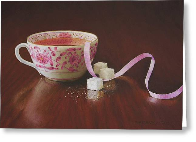 Tea Party Pink Greeting Card by Barbara Groff
