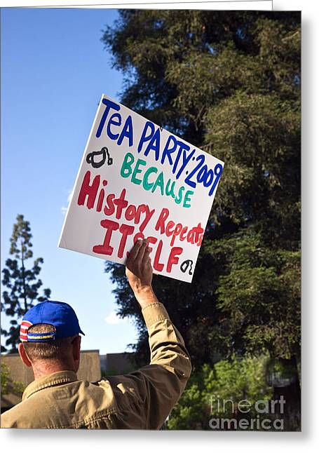 Tea Party Photographs Greeting Cards - Tea Party Protest, 2009 Greeting Card by Inga Spence