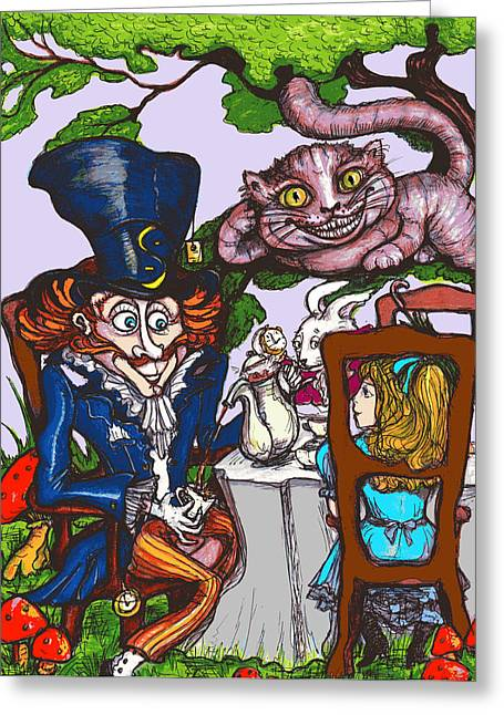 Mad Hatter Greeting Cards - Tea Party Greeting Card by Rae Chichilnitsky