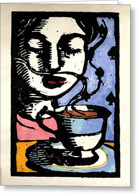 Linocut Greeting Cards - Tea Greeting Card by Pauline Lim