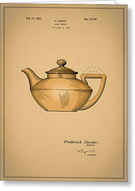 Grinder Greeting Cards - Tea Pot Patent 1923 Greeting Card by Mark Rogan
