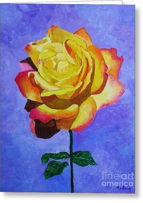 Greeting Card featuring the painting Tea Rose by Rodney Campbell