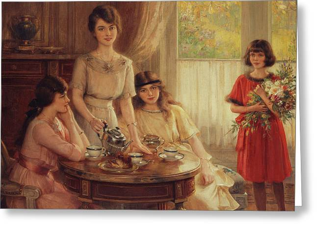 Tea Time Greeting Card by Albert Lynch
