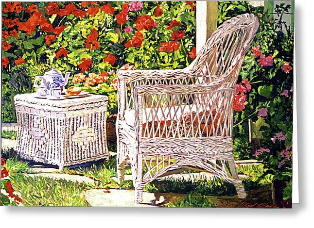 Tea Time Greeting Card by David Lloyd Glover