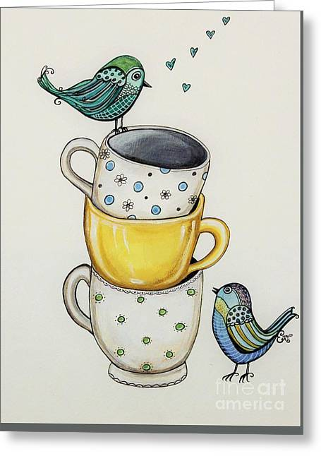 Lemon Art Greeting Cards - Tea Time Friends Greeting Card by Elizabeth Robinette Tyndall