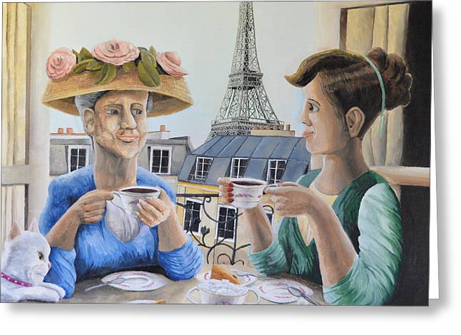 French Open Paintings Greeting Cards - Tea Time in Paris Greeting Card by Winton Bochanowicz