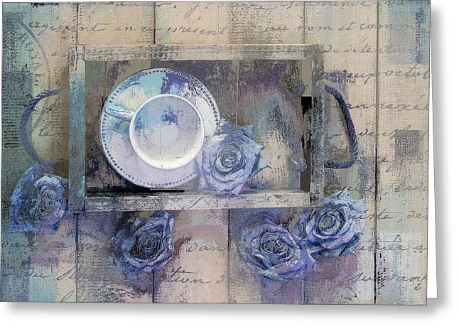 Purple Roses Greeting Cards - Tea Time - j043097070-add222 Greeting Card by Variance Collections