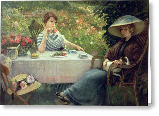 Tea Time Greeting Card by Jacques Jourdan