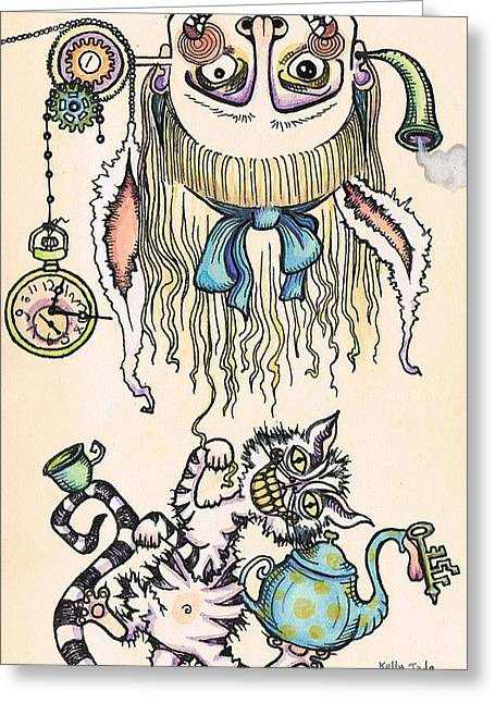 Cat Drawings Greeting Cards - Tea Time Greeting Card by Kelly Jade King