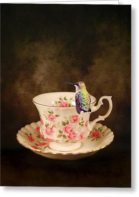 Hummingbird Art Greeting Cards - Tea Time With a Hummingbird Greeting Card by Jai Johnson