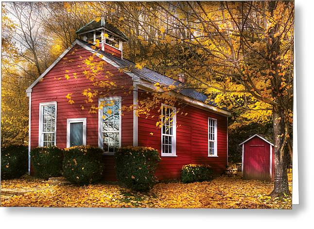 Red School House Photographs Greeting Cards - Teacher - School Days Greeting Card by Mike Savad