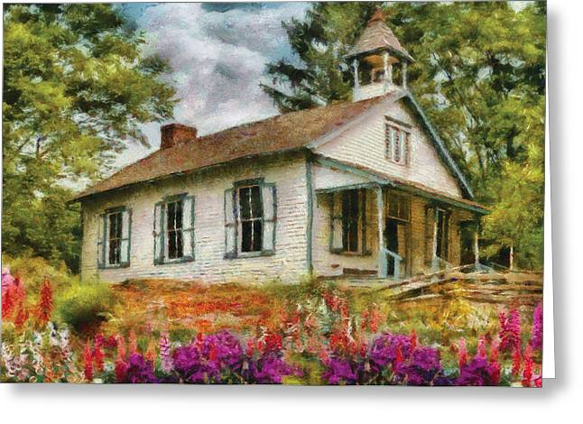 Old School Houses Greeting Cards - Teacher - The School House Greeting Card by Mike Savad