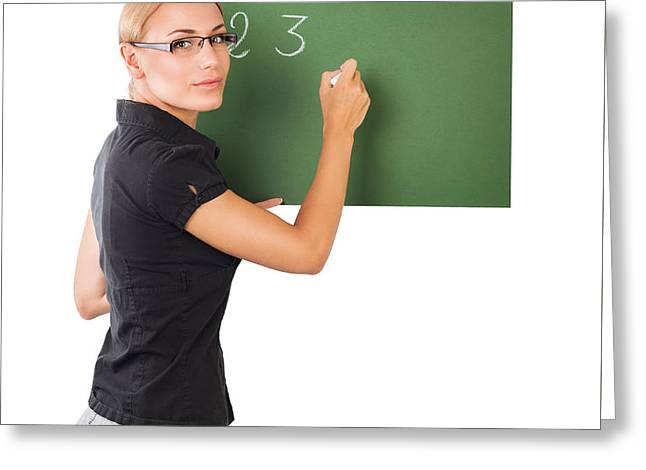 Lessons Greeting Cards - Teacher writting on chalkboard Greeting Card by Anna Omelchenko