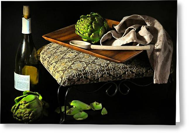 Table Top Still Life Greeting Cards - Teak  Greeting Card by Diana Angstadt
