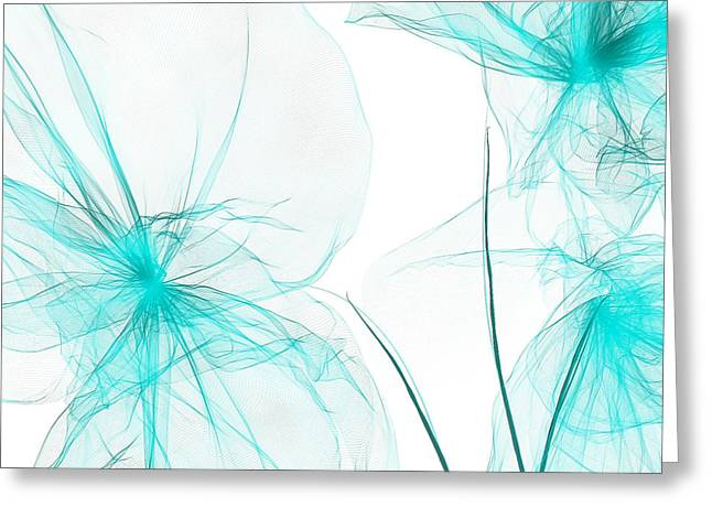Light Blue Abstract Greeting Cards - Teal Abstract Flowers Greeting Card by Lourry Legarde