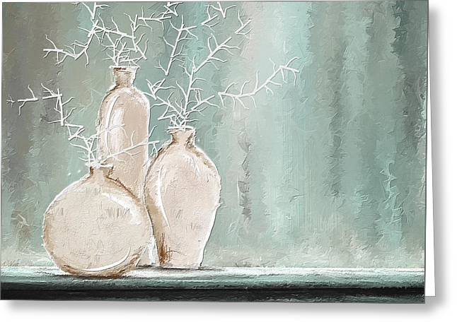 Blue And Green Greeting Cards - Teal And White Art Greeting Card by Lourry Legarde