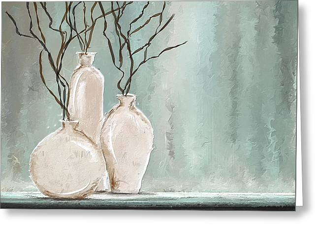 Teal Elegance - Teal And Gray Art Greeting Card by Lourry Legarde
