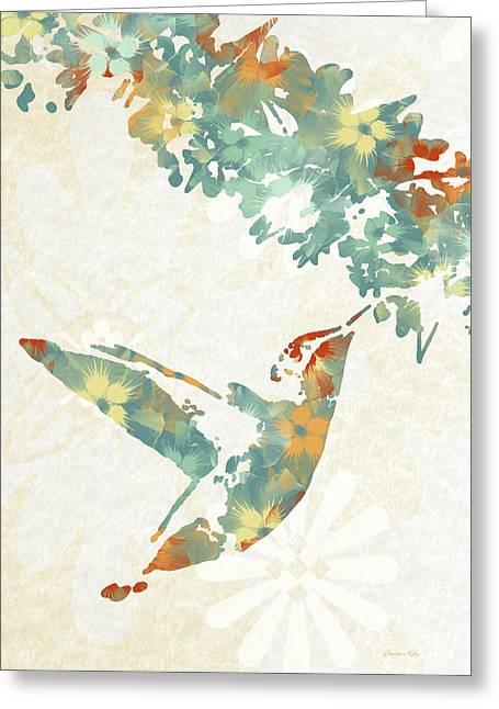 Teal Floral Hummingbird Art Greeting Card by Christina Rollo