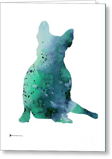 Teal French Bulldog Fine Art Print Greeting Card by Joanna Szmerdt