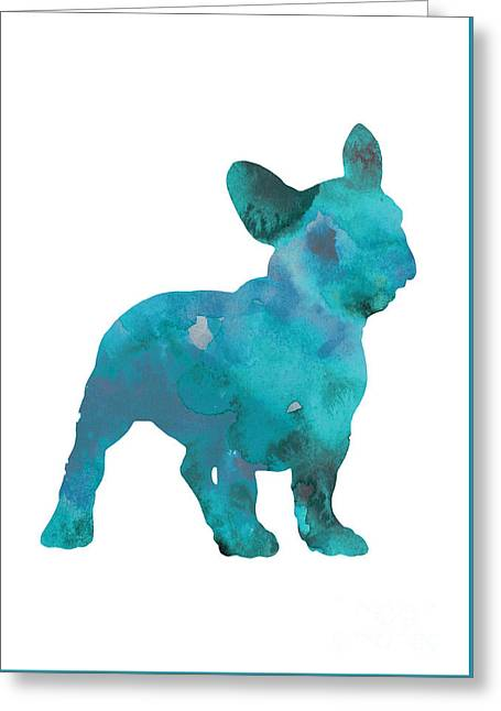 Teal Frenchie Abstract Painting Greeting Card by Joanna Szmerdt