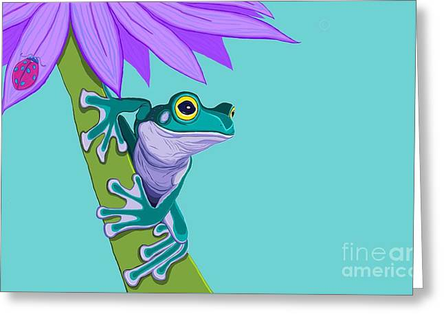 Amphibians Digital Art Greeting Cards - Teal Frog and Purple Flower Greeting Card by Nick Gustafson