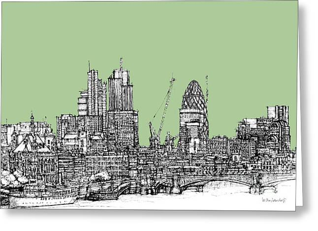 Pen And Ink Framed Prints Greeting Cards - Teal green London roofscape Greeting Card by Lee-Ann Adendorff