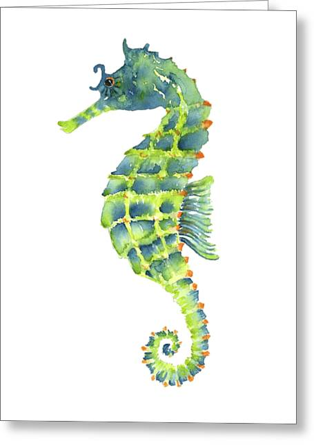 Teal Green Seahorse Greeting Card by Amy Kirkpatrick