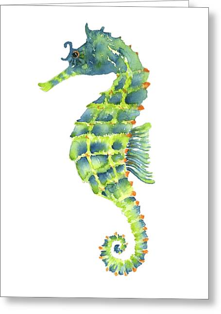 Teal Green Seahorse - Square Greeting Card by Amy Kirkpatrick