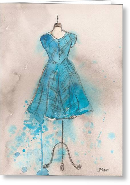 Loose Greeting Cards - Teal Striped Dress Greeting Card by Lauren Maurer